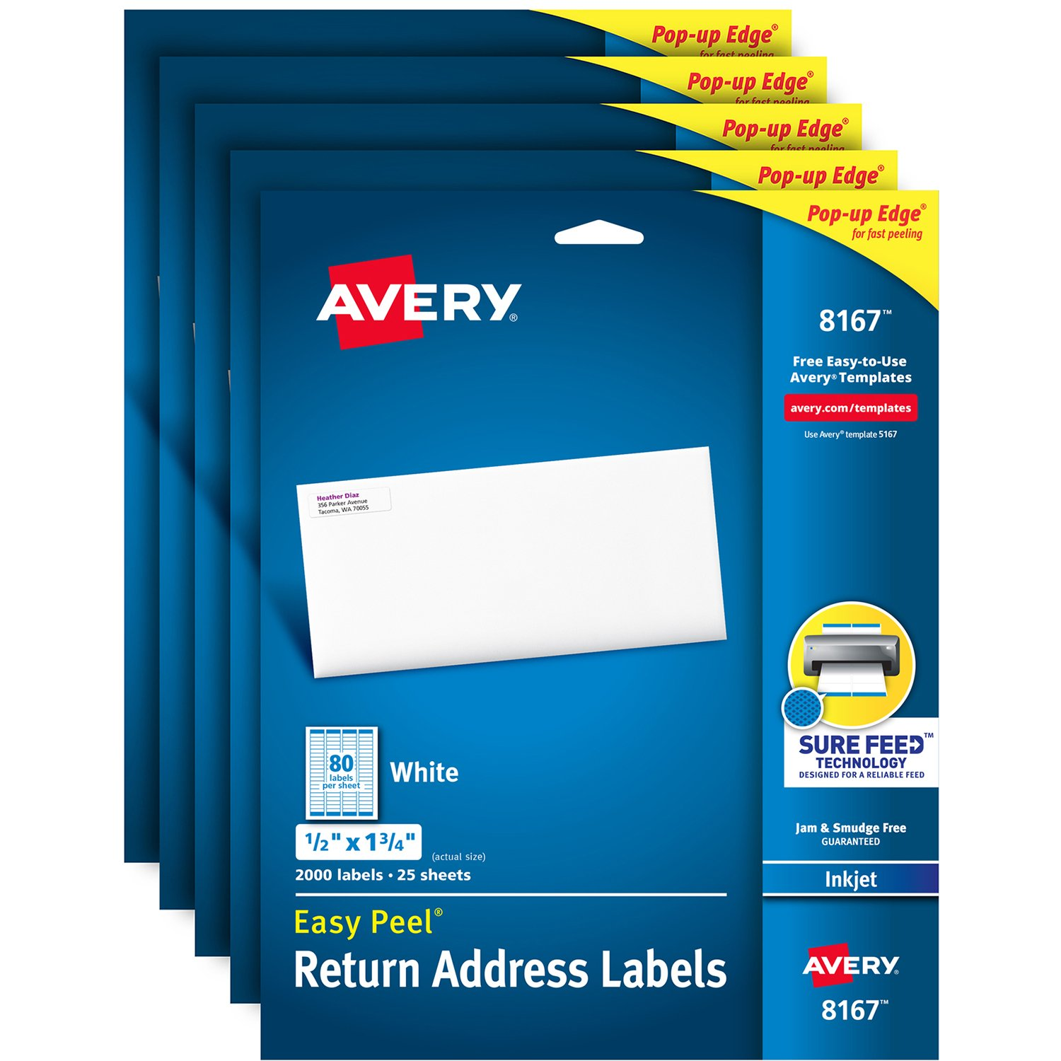 Avery Address Labels with Sure Feed for Inkjet Printers, 0.5'' x 1.75'', 10,000 Labels, Permanent Adhesive (5 Pack 8167)