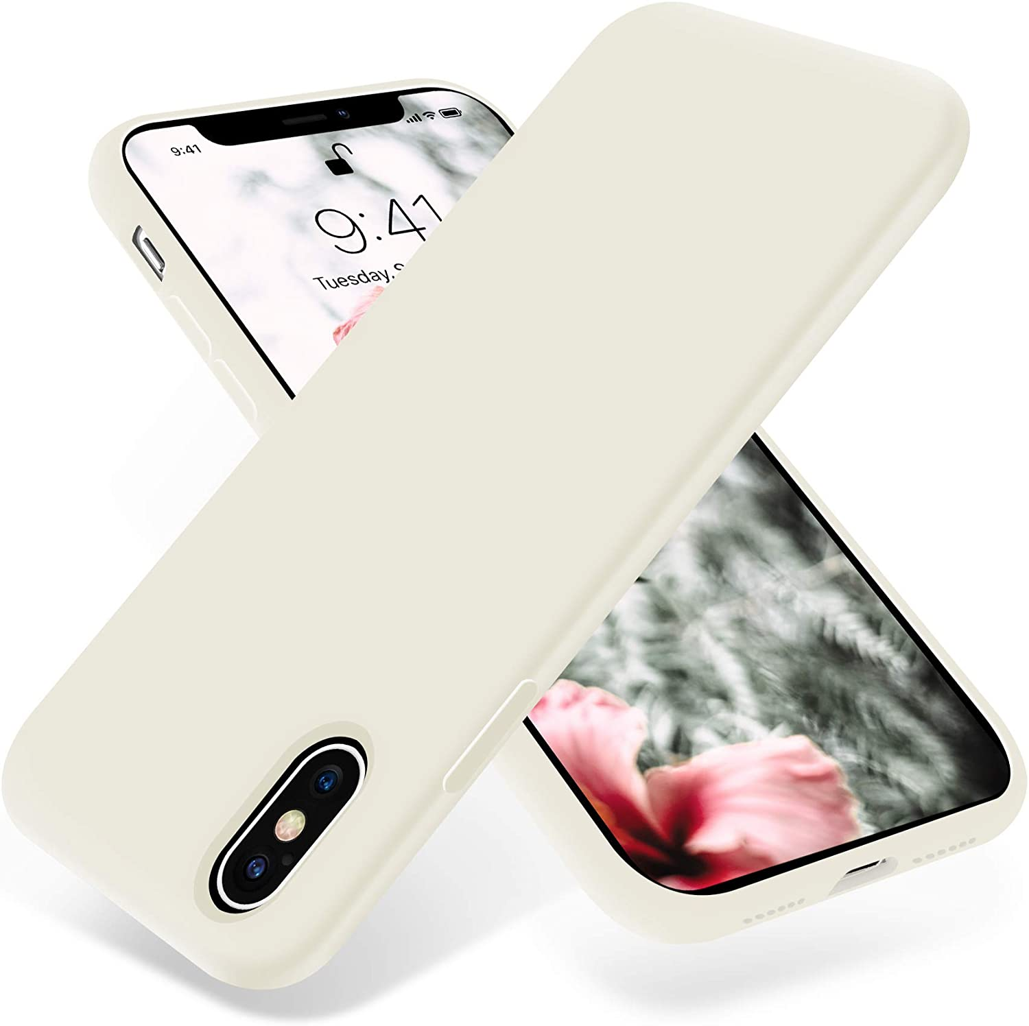 OTOFLY Liquid Silicone Gel Rubber Full Body Protection Shockproof Case for iPhone Xs/iPhone X,Anti-Scratch&Fingerprint Basic-Cases,Compatible with iPhone X/iPhone Xs 5.8 inch (2018), (Antique White)