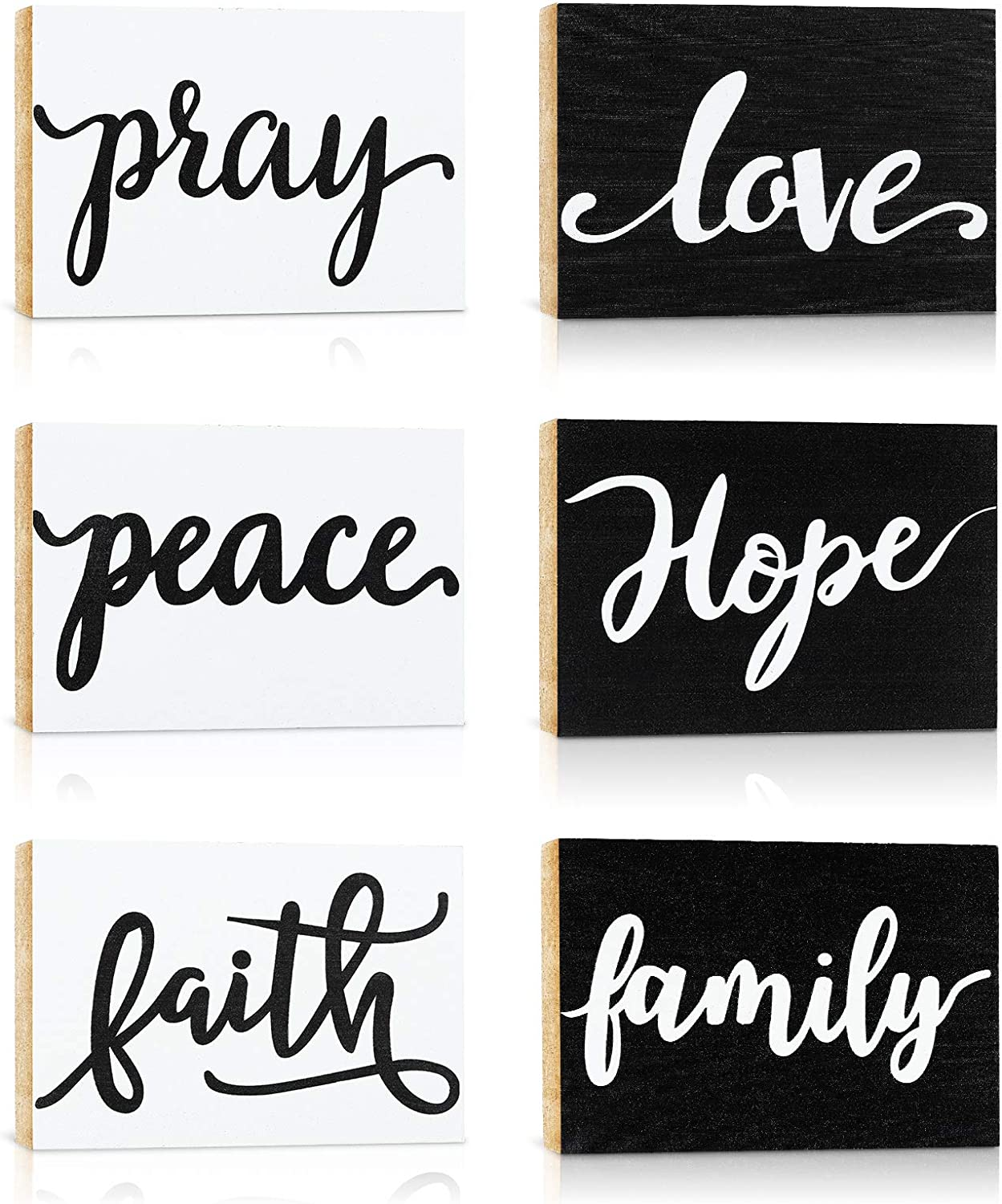 6 Pieces Peace Love Faith Pray Hope Family Wood Signs Inspirational Words Art Print Wood Blocks Decorative Tiered Tray Signs for Window Sill Wall Decoration
