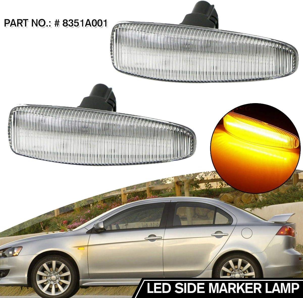 Lopbinte Car Dynamic LED Side Marker Lights Turn Signal Light Side Repeater Lamp Amber for Lancer EVO X 8351A001
