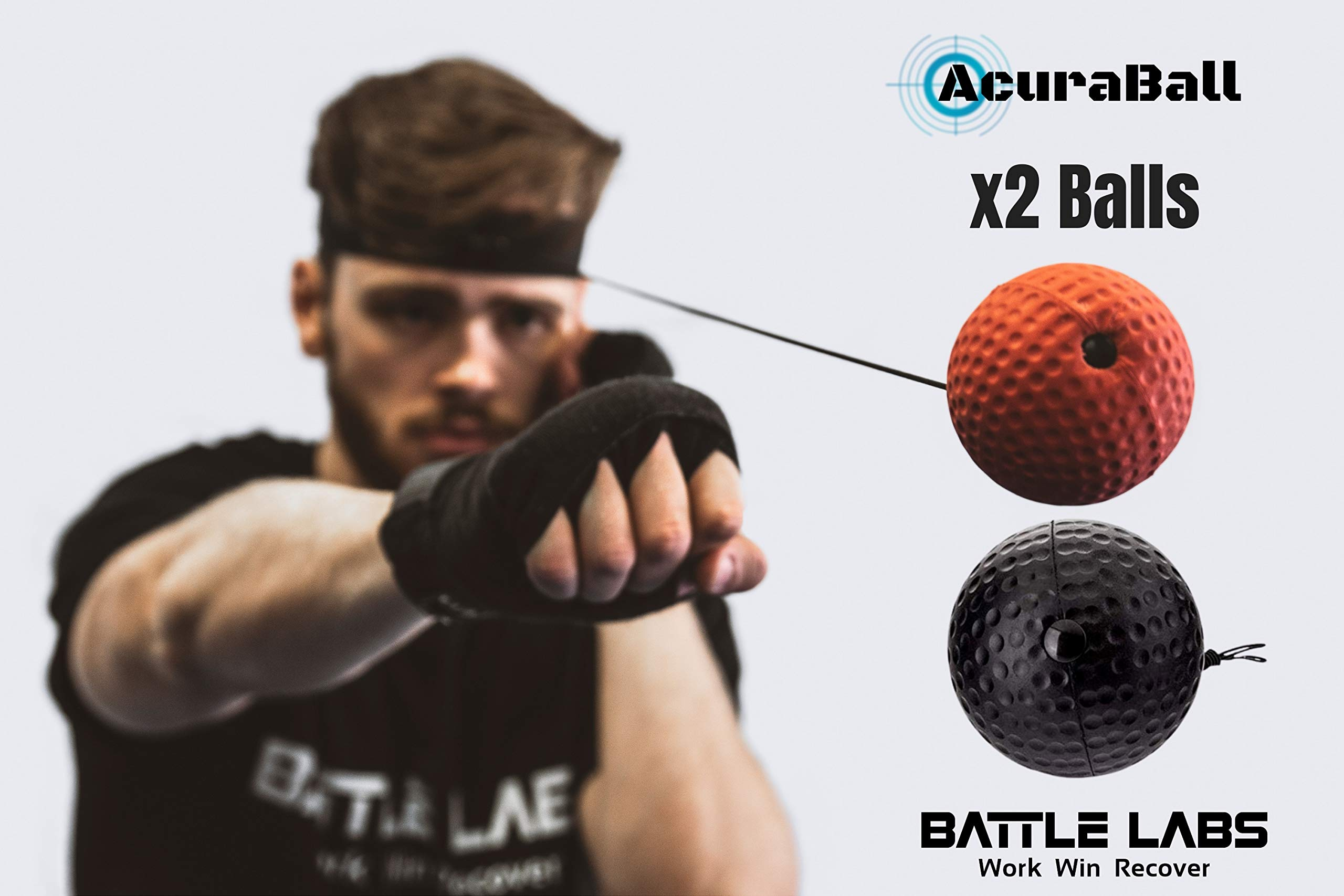 AcuraBall - Boxing Reflex Ball For Boxing, MMA and Muay Thai Hand-eye Coordination Training. The Boxing Ball Improves Your Fight Fitness, Reflexes, Reaction Times and Hand Speed/Accuracy