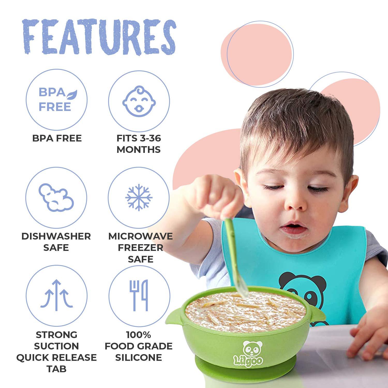 Kleinkinder Kinder 3-teiliges Silikon-Babyschalen-Set mit Saugnapfboden und L/öffel Soft Safe in Lebensmittelqualit/ät f/ür Babys