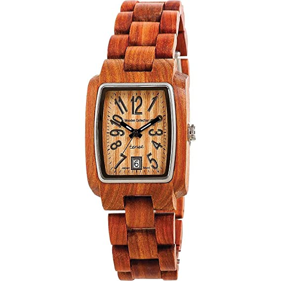 Tense Wood Watches J8102SQR-G - Reloj rectangular de sándalo para hombre