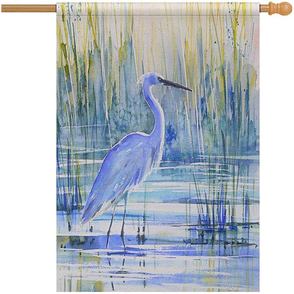 Blue Heron en la Orilla del Lago al Atardecer Pintura de pájaros Bandera Decorativa para Jardines andations, Banner (sin asta de Bandera)
