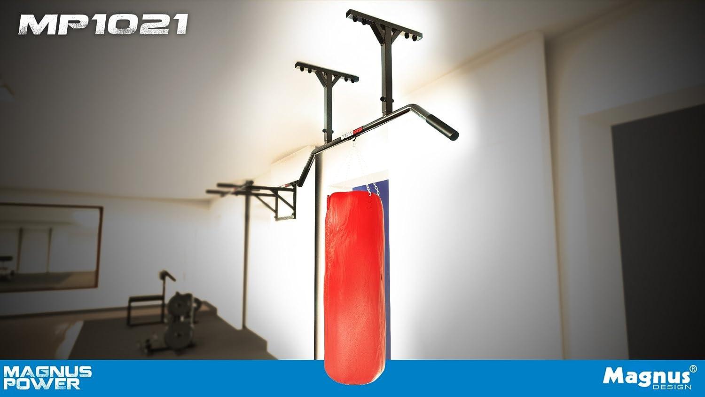 Magnus Power mp1021 – Original – Barra de dominadas (Montaje en Techo) 2 Grips + Guantes + Gancho para Entrenamiento en suspensión/Saco de Boxeo: Amazon.es: Deportes y aire libre