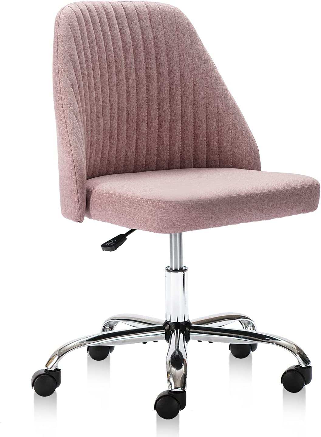 Home Office Chair, Modern Twill Fabric Chair Adjustable Desk Chair Mid-Back Task Chair Ergonomic Executive Chair-Pink