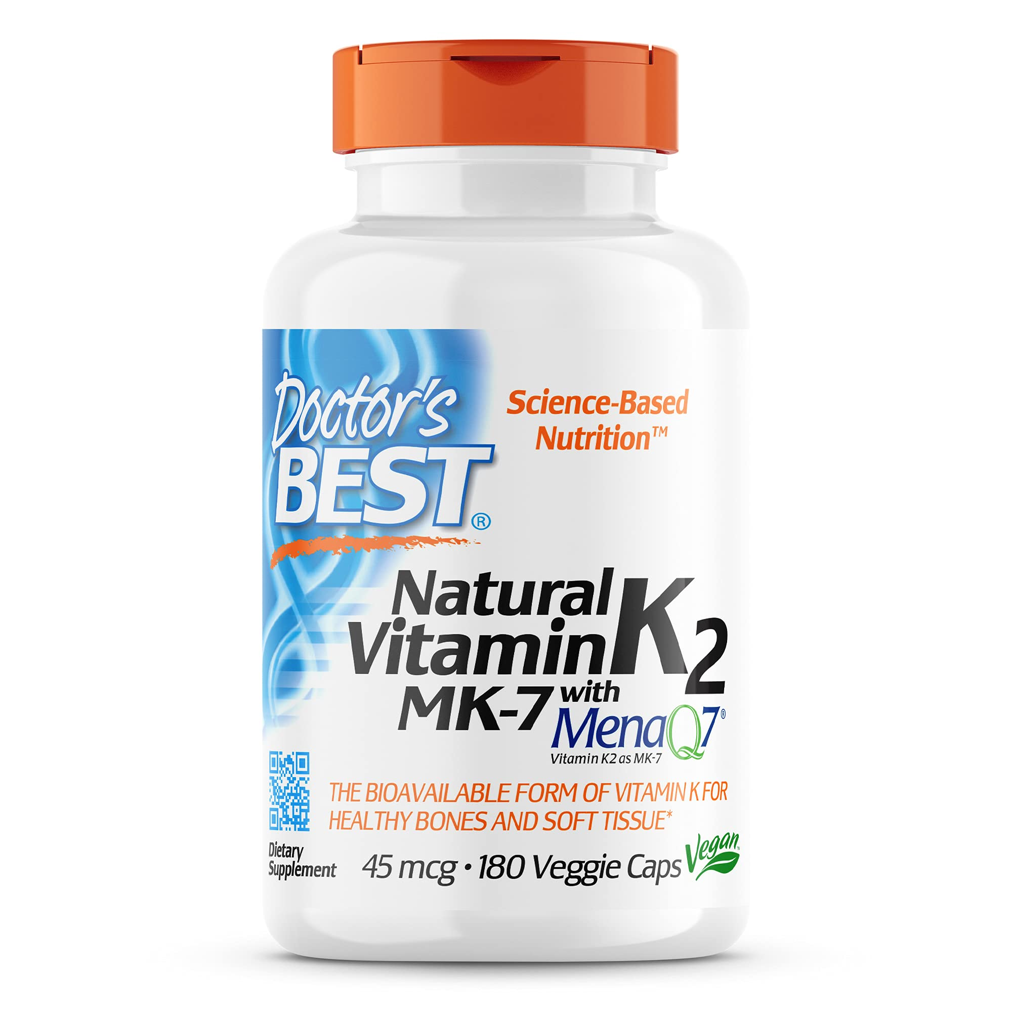 Doctor's Best Natural Vitamin K2 Mk-7, Supports Bone Health & Soft Tissue Elasticity, 180 Ct