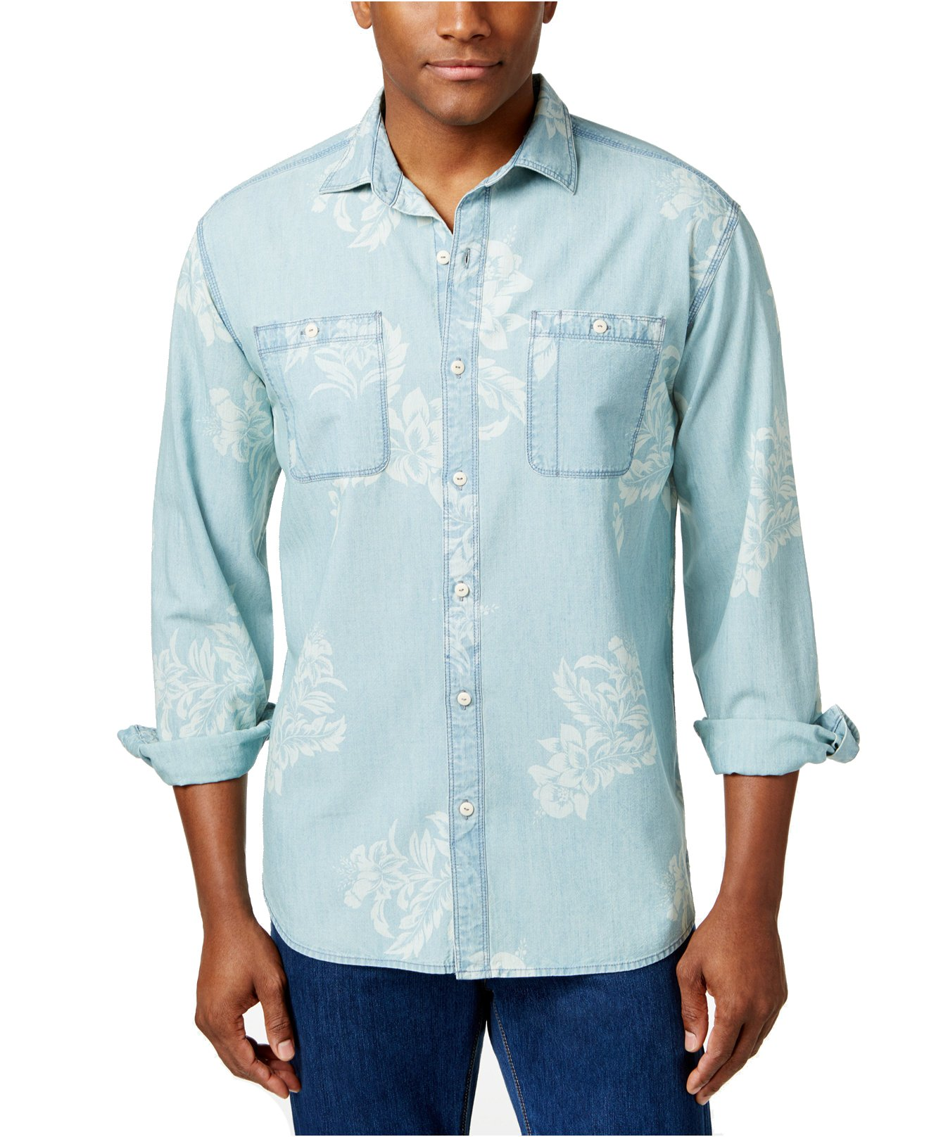 Tommy Bahama Men's Selaron Chambray Long-Sleeve Button-Up Shirt (Chambray Blue, X-Large)