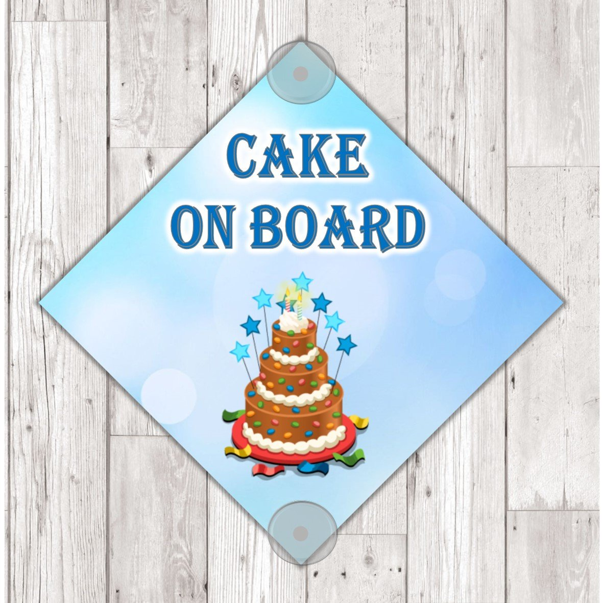 own design logo added WS09 Cake On Board personalised Car Sign Sticker with suction cups