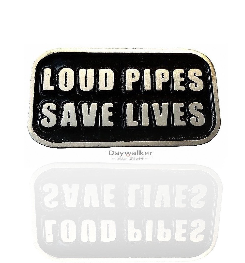 Daywalker-Bikestuff Loud Pipes Save Lives & # x2022; nero glossy untergrund & # x2022; scrittura leggero Sbalzato & # x2022; Chopper No name DW0920