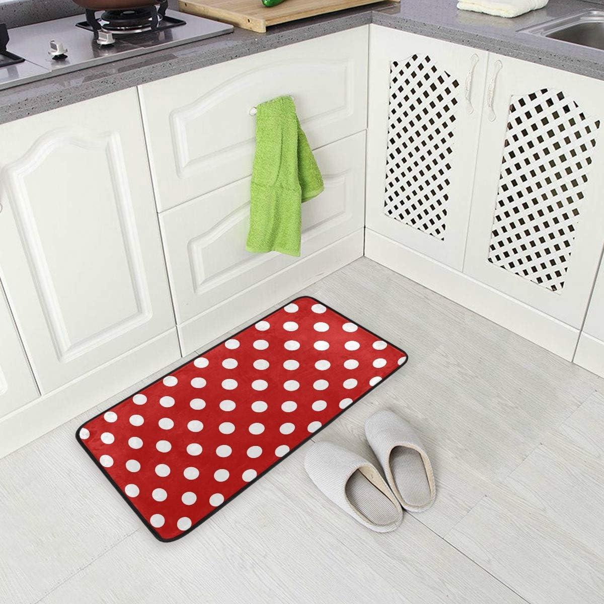 Amazon Com Vikko White Red Polka Dot Kitchen Area Rugs Home Decor 39 X 20 Inch Non Slip Floor Mat Machine Washable Runner Rug For Indoor Living Room Bedroom Doormats Pads