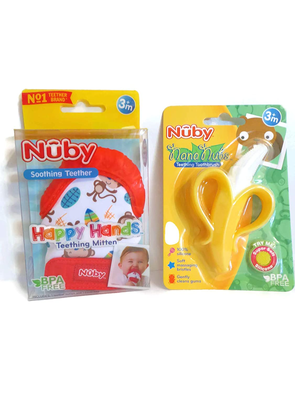 Baby Feeding Nuby Soothing Teething Mitten With Hygienic Travel Bag Red Soft Bpa