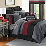Brylanehome 8 Pc. Essence Comforter Set (Black Red,Queen)