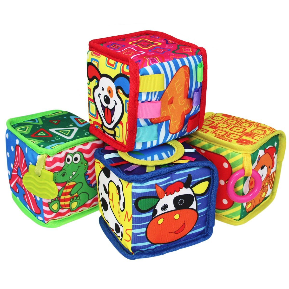 TEYTOY 4pcs Infant Baby Early Education Toys Rattles Velvet Cloth Building Blocks Toy BPA-free for 0-36 Months