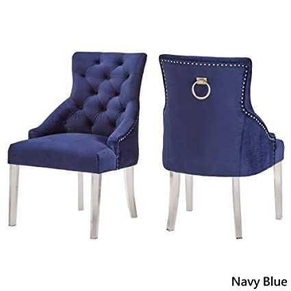 Marvelous Inspire Q Gina Velvet Tufted Dining Chair Set Of 2 With Acrylic Legs By Bold Blue Bralicious Painted Fabric Chair Ideas Braliciousco