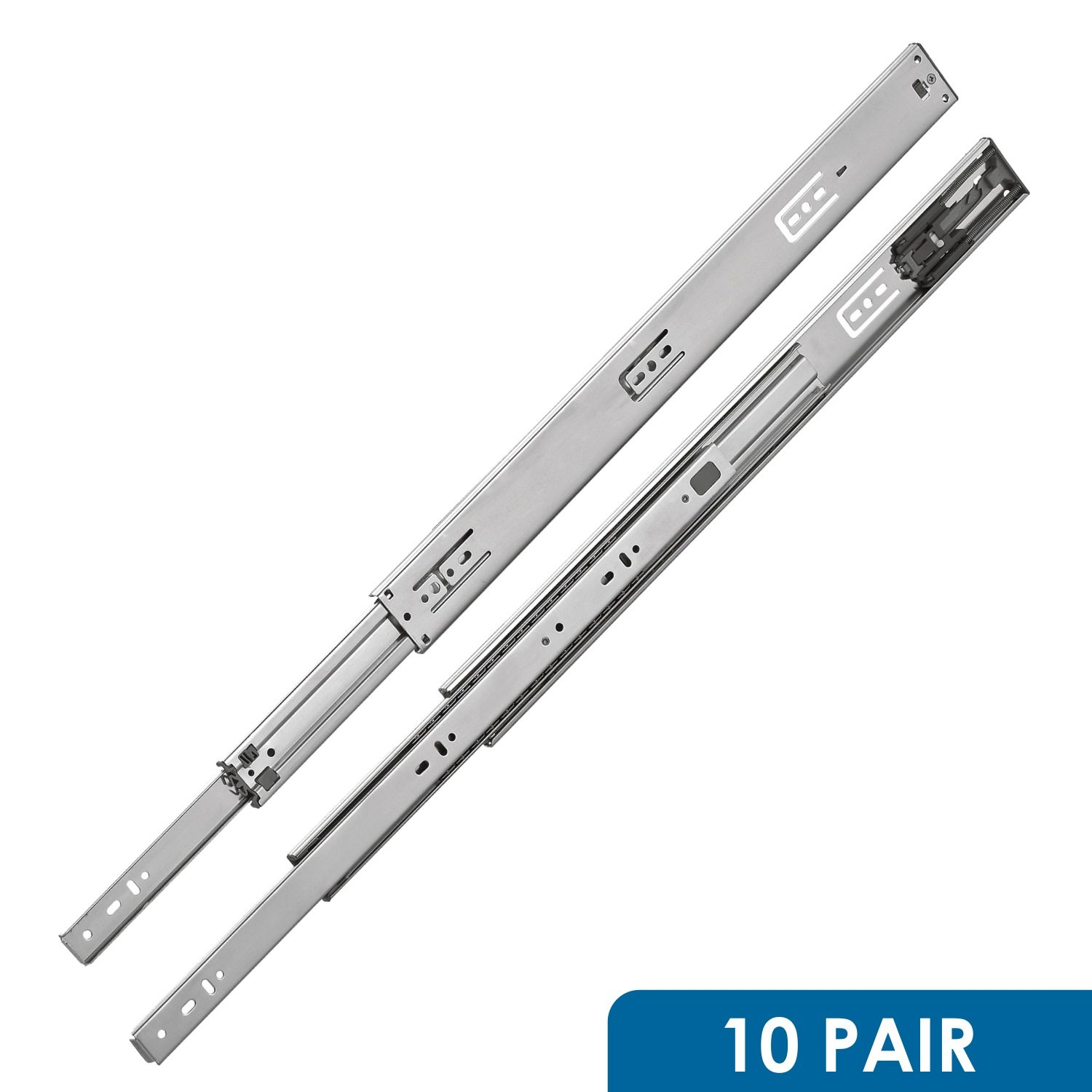 Rok Hardware 16'' Drawer Slides Full Extension Push To Open Ball Bearing 100 Lbs Capacity (10 Pair) by Rok