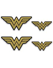 "Metallic Gold Wonder Woman Emblem Stickers. 4 Pack of Decals (2 + 2). Superhero Decal - Two 5.5"" Wide and Two 3"" Wide Metallic Gold Vinyl Stickers for car Window, Laptop, Phone, 30oz Tumbler. SD0002"