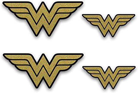 Wonder Woman dorado metálico emblema Pegatinas. 4 Pack de ...