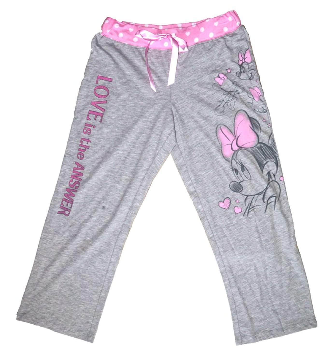Disney Classic Minnie Mouse Womens Pajama Pants - Love is the Answer - Grey
