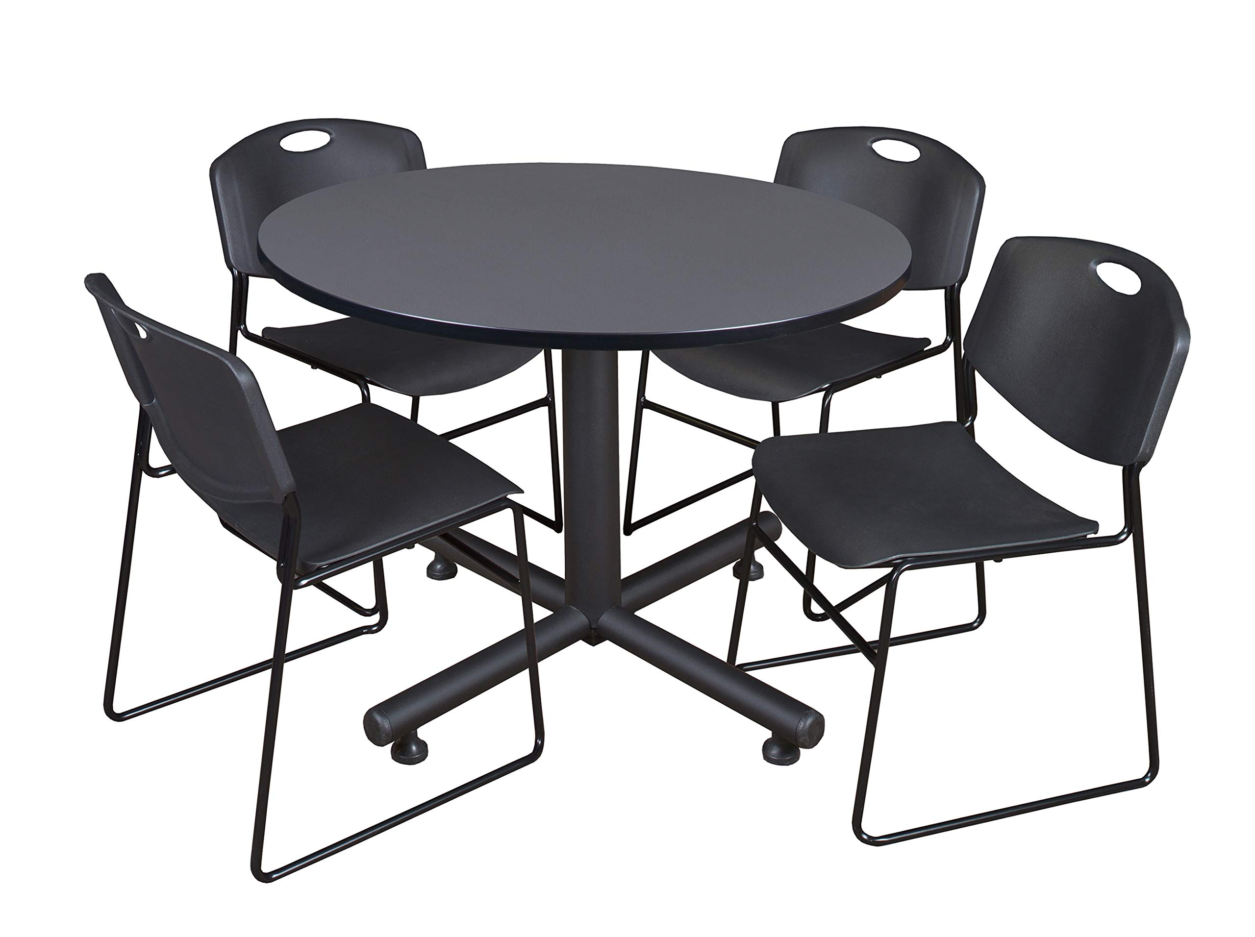 Regency Kobe 48-Inch Round Breakroom Table, Grey, and 4 Zeng Stack Chairs, Black by Regency Seating