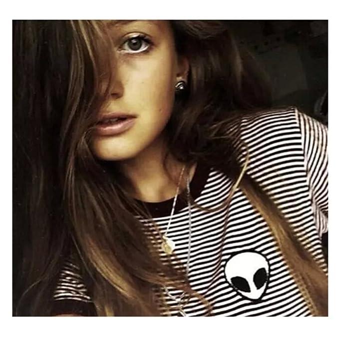 Alien T Shirt Women Hipster Sexy Tumblr Crop Top Tee for Ladies Teen Girls  (M