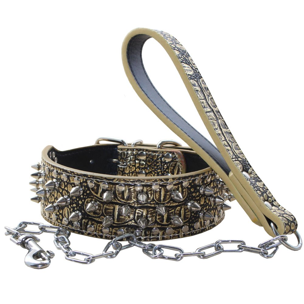 Benala Leather Spiked Studded Pet Dog Collar & Chain Leash Military Set Of Matching for Small Medium Large Breeds (Golden Brown,Xs)