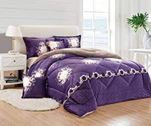 Moon Winter Fur Comforter 4 Pcs Set By Moon, Single Size, Hh-008, Purple, Material: Velvet