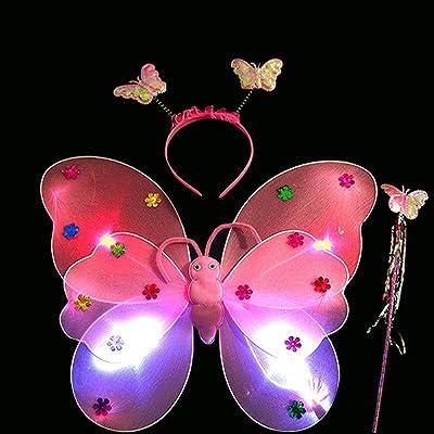 Coedfa 3pcs/Set Girls Led Flashing Light Fairy Butterfly Wing Wand Headband Costume Toy, Girls' Kids' Children's Dress-Up Fancy Dress (Pink): Kitchen & Dining