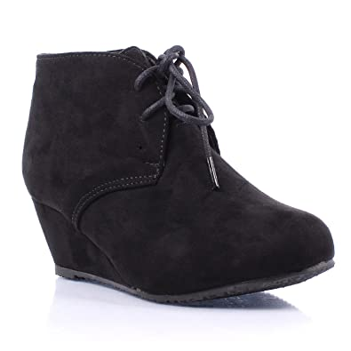 7ac385bf1ed5 ShoBeautiful Womens Lace Up Wedges Bootie Fashion Casual Outdoor Adorable  Almond Toe Ankle Boots Black 6