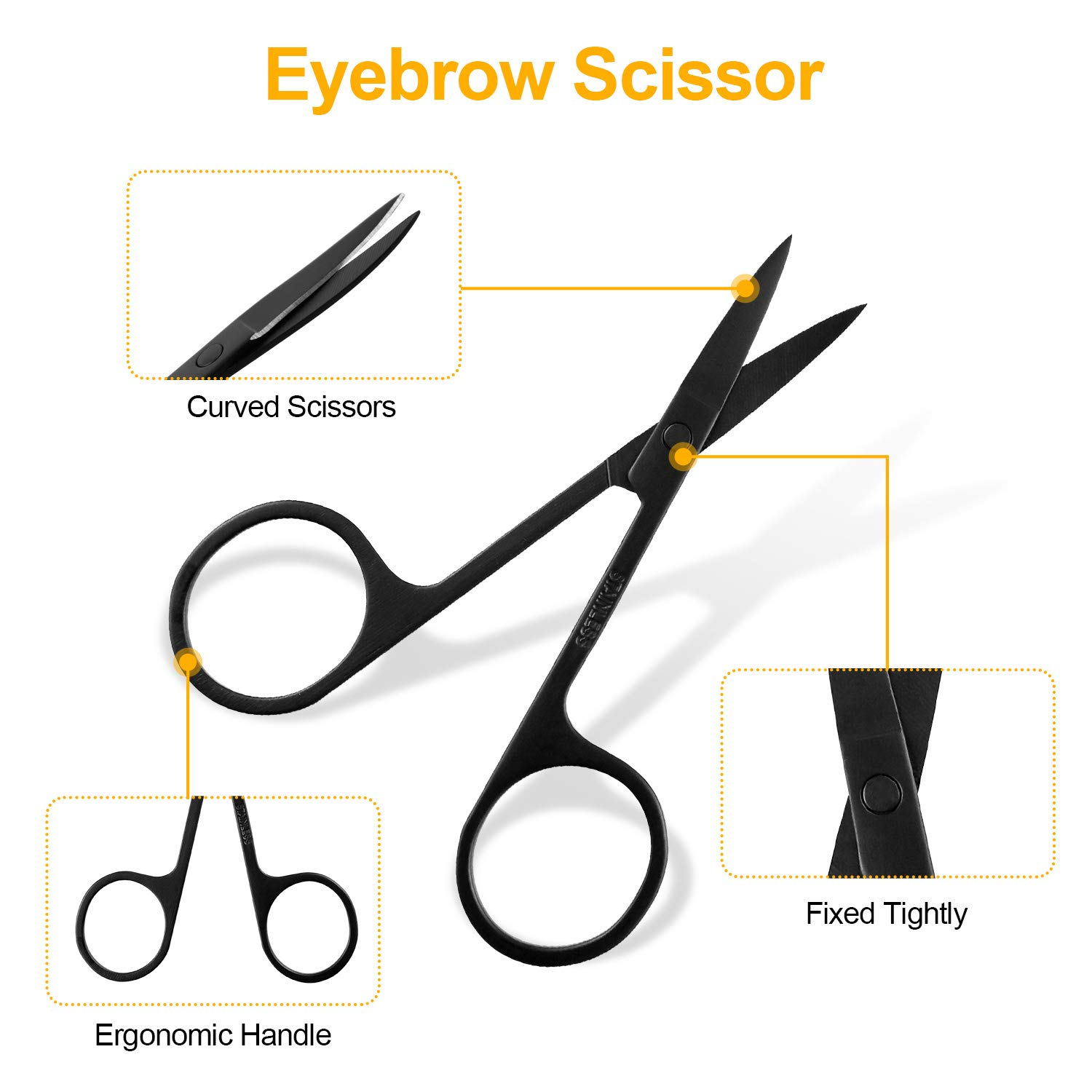 SENWOW Eyebrow Tweezers Scissors Stencils and Razor Set - 15pcs Stainless Steel Eyebrow Trimmer Shaver and Angled & Bristle Brows Brushes Eyebrow Grooming Kit for Women and Men Black