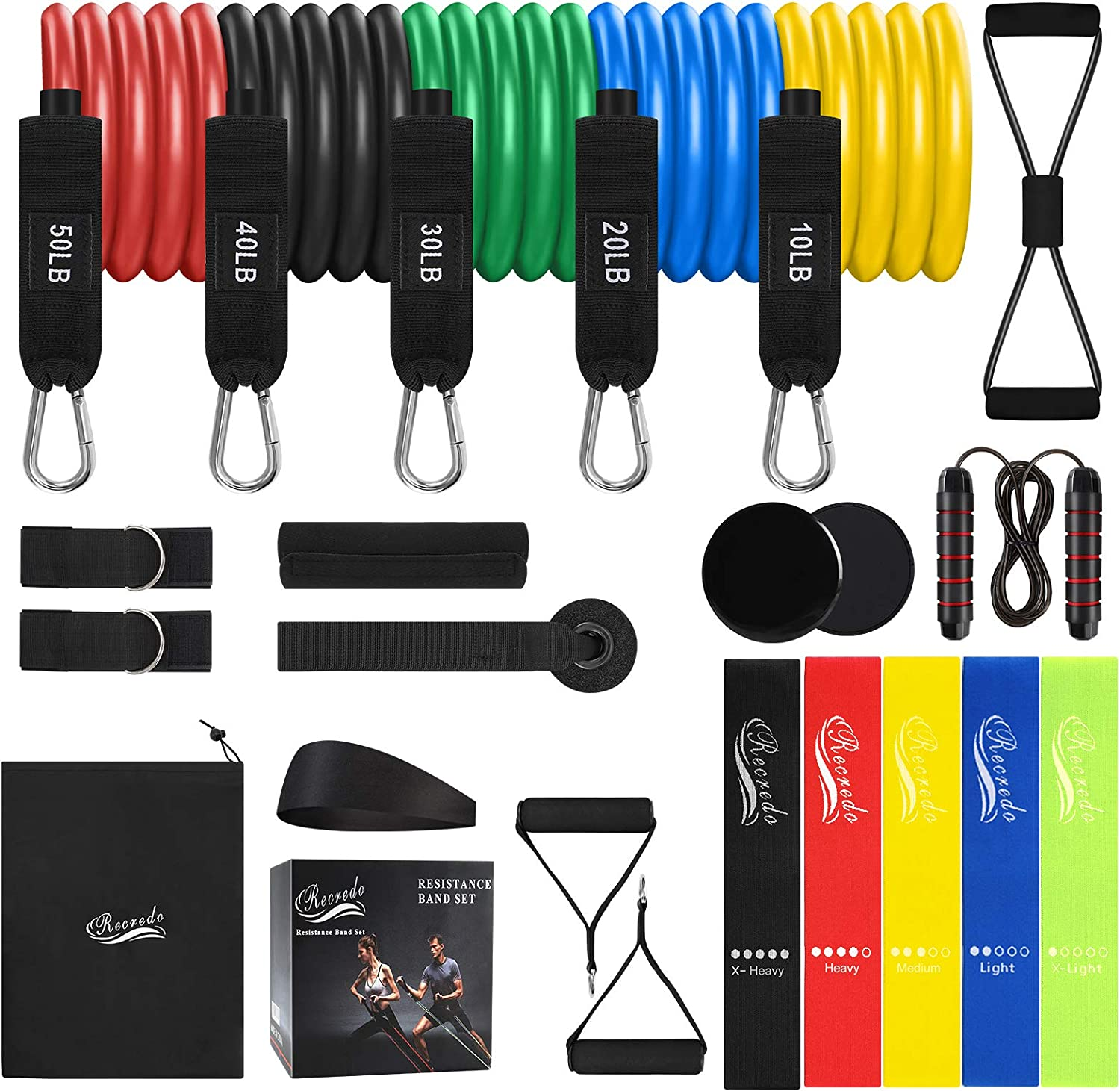 Resistance Bands Set 22pcs, Workout Bands with Handles, 5 Stackable Exercise Bands, 5 Loop Resistance Bands, Core Sliders, Door Anchor, Ankle Straps, Jump Rope, Headband, for Resistance Training