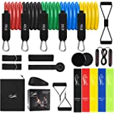 Resistance Bands Set 22pcs, Workout Bands with Handles, 5 Stackable Exercise Bands, 5 Loop Resistance Bands, Core Sliders, Do