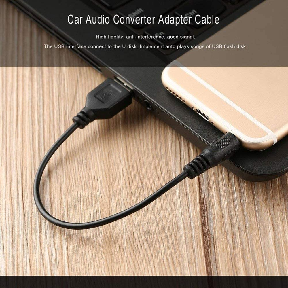 Mandalaa Portable Size Auto Car Audio Converter Adapter AUX 3.5mm Male to USB Male Jack Plug Data Charge Cable for Car Navigation
