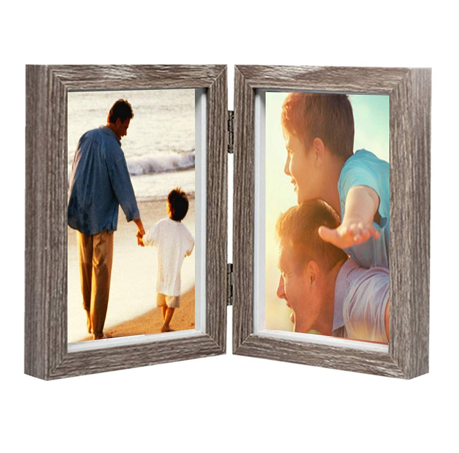 AlexBasic Wood Picture Frame Double 4x6 Hinged Picture Frame Desktop Photo Frame with Glass Front Dual Frame (Gray)