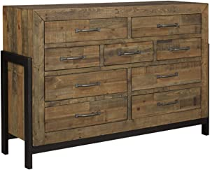 Ashley Furniture Signature Design - Sommerford Dresser - Casual - 9 Drawers - Light Grayish Brown Finish Reclaimed Wood - Silver/Bronze Hardware/Legs