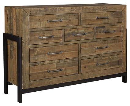 Ashley Furniture Signature Design Sommerford Dresser Casual 9 Drawers Light Grayish Brown Finish Reclaimed Wood Silver Bronze Hardware Legs