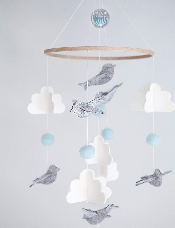 Baby Crib Mobile for Boys and Girls: Blue Baby Shower Gift Set Nursery Decor Infant Bedroom Hanging Decoration Toy Newborn Registry (Bird Cloud Modern Unisex Wool Woodland)
