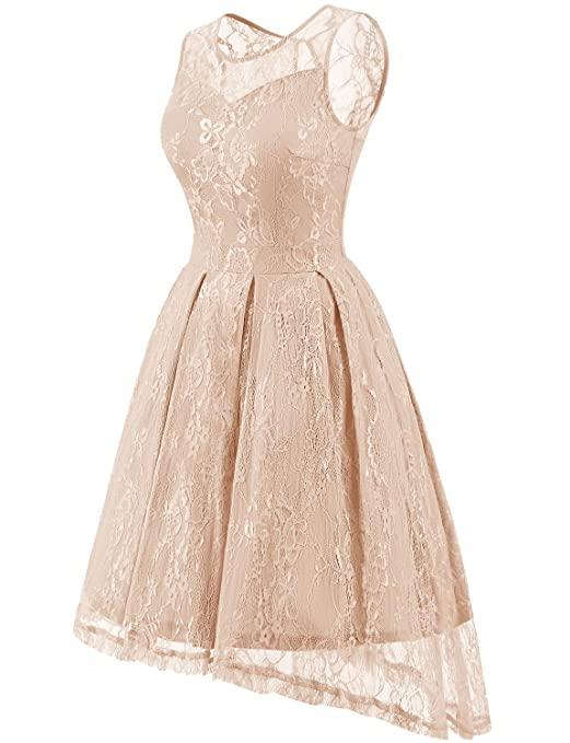 Gardenwed Womens Retro Lace High-Low Homecoming Dress Cocktail Party Gown Bridesmaid Dress at Amazon Womens Clothing store: