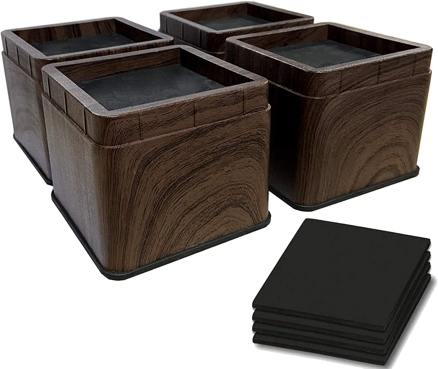 ANDEAL 3 Inch Bed Riser Heavy Duty Furniture Risers Stackable for Couch Sofa Dorm Bed Chair Table (Black Walnut Wood Grain), Set of 4