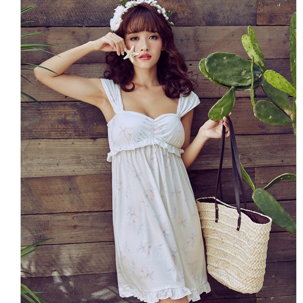 Primavera y Verano Sexy White Sweet Girl Girl Nightdress Home Pyjamas HUXIUPING (Color : Blanco, Tamaño : S): Amazon.es: Hogar