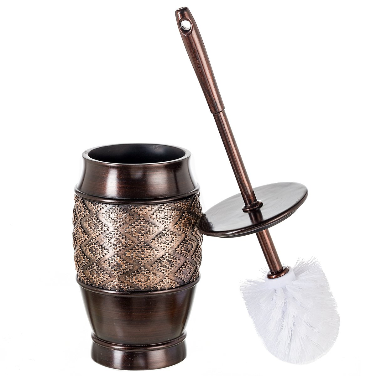 Dublin Decorative Toilet Cleaning Bowl Brush with Holder and Lid - (5'' x 5'' x 15.5''H) Decorative Bowl Scrubber, Space Saving Design, Contemporary Scrubbing Cleaner (Brown) by Creative Scents