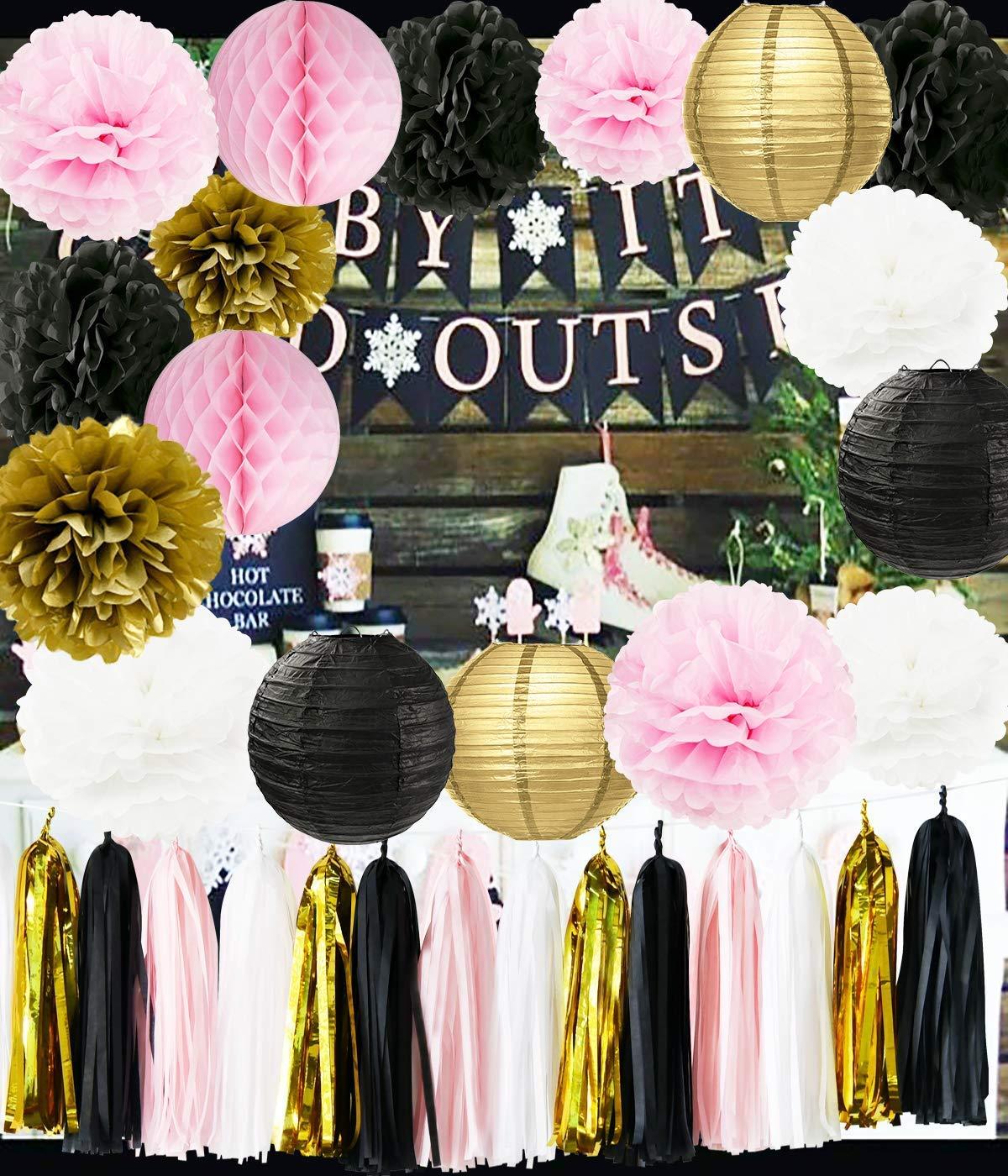 Amazoncom Ooh La La Baby Shower Decorations Pink Gold White Black