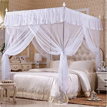 Teamowsj Luxus Prinzessin Vier Ecke Post Betten Baldachin Spitze  Moskitonetzen Bett Himmelbett Vorhang Schutz Für Urlaub