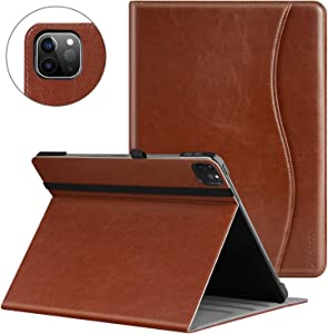 ZtotopCase for iPad Pro 11 Case 2nd Generation 2020 Release, Premium Leather Smart Folio Case + Support Pencil Pair & Charging + Auto Wake/Sleep + Multiple Viewing Angles Cover, Brown
