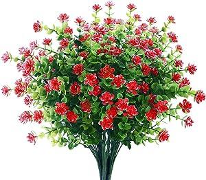 6 Bundles Artificial Flowers Outdoor Fake Flowers for Decoration UV Resistant No Fade Faux Plastic Plants Garden Porch Window Box Décor (Red)