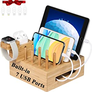 Bamboo Charging Station for Multiple Devices, Fast Charge Docking Station&Organizer with 7 USB Ports for iPad, Apple Watch, Android Phone and Tablet