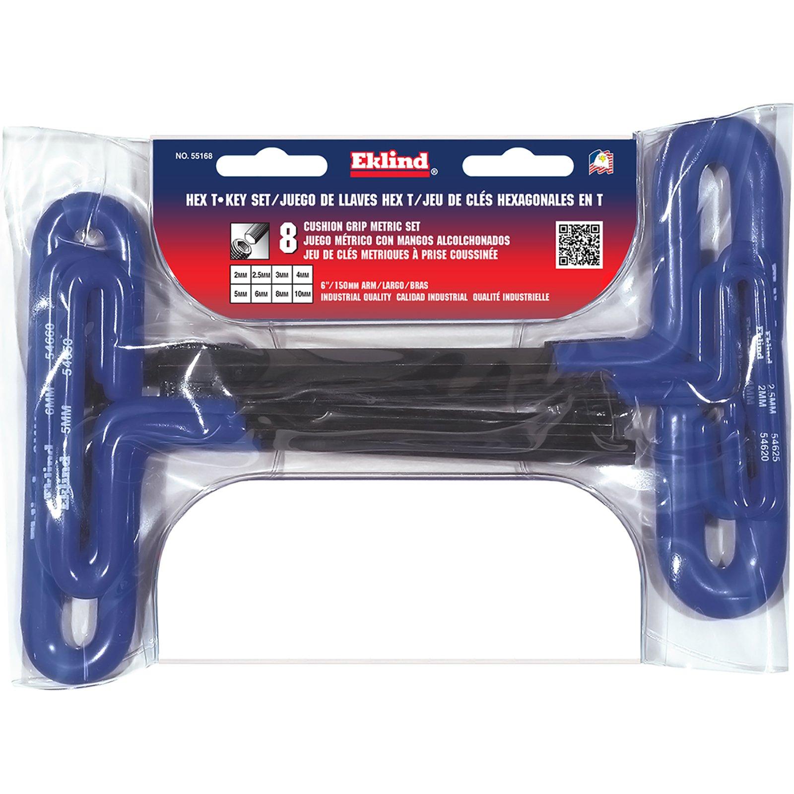 EKLIND 55168 Cushion Grip Hex T-Key allen wrench - 8pc set Metric MM sizes 2-10 (6In shaft) by Eklind Tool