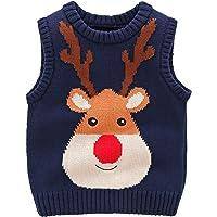 Happy cherry - Suéter de Niños Niñas con Dibujo de Alces de Navidad Ropa Infantil de Punto sin Mangas para Otoño…