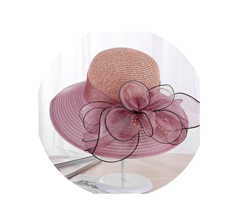 Solid Color Sun Hats for Women Wide Brim Beach Hat Summer Girls Bucket Caps Womens Flowers Bone