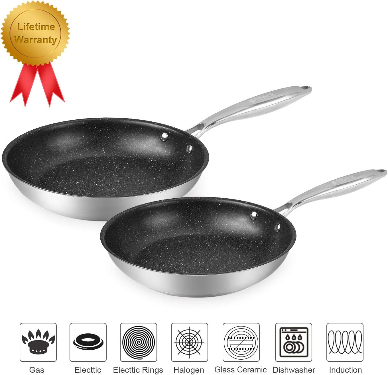 "Suteck Nonstick Deep Fry Pan Set of 2 | 8"" & 10"" Opening Skillet Stainless Steel Frying Pan, Oven & Dishwasher Safe Classic Cooking Pan Cookware"